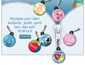 Kid S Personalized Zipper Pulls Unique Novelty Gifts